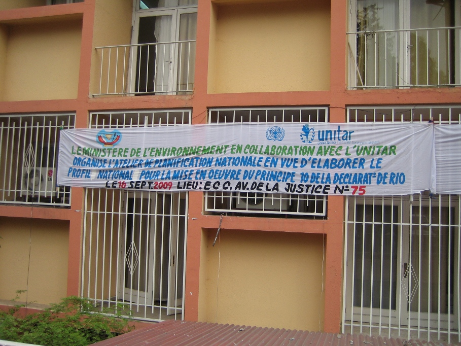 Workshop's banner in Kinshasa