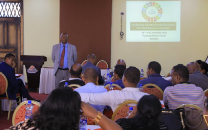Integrating climate change education into the national curriculum guideline validation workshop, December 2019, in Bishoftu, Ethiopia.