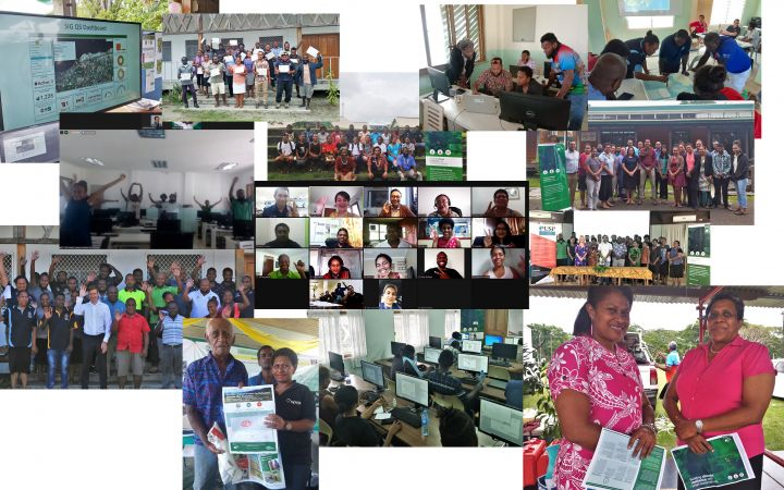 Collage of photos of different CS activities led by UNOSAT