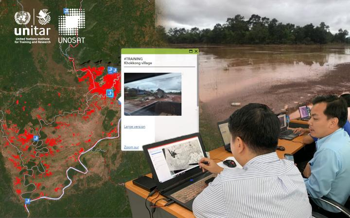 Collage of web map, photo of flooded river and trainings participants