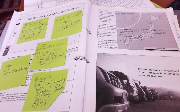 Lu'isa's notes from the UNITAR training she participated in helped to inspire her community work as she adapted the methods shared to her local context.