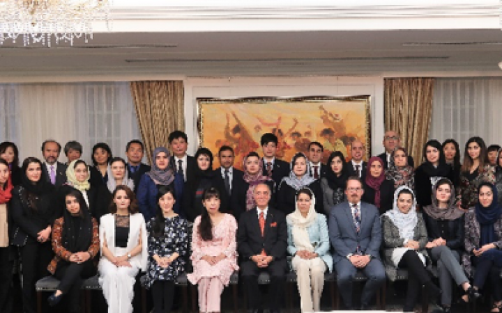 Group photo taken at the Embassy of Afghanistan in Japan
