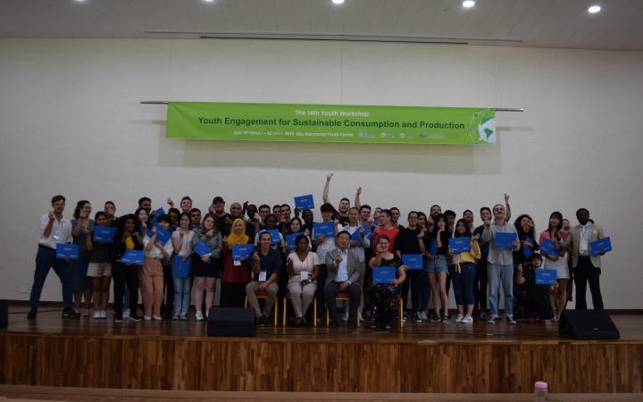 Group photo at  the 14th Youth Workshop on Engagement for Sustainable Consumption and Production