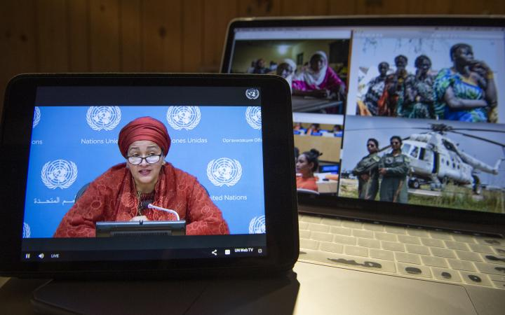"Deputy Secretary-General Amina Mohammed launches ""Rise for All"" during a virtual press event. ""Rise for All"" is a new initiative that brings together women leaders to mobilize support for the UN Recovery Trust Fund and the UN roadmap for social and economic recovery, as laid out in the new United Nations Framework for the immediate socio-economic response to COVID-19. She is joined by Achim Steiner, United Nations Development Programme Administrator."