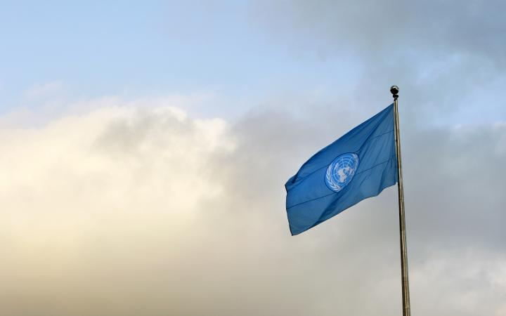 The United Nations flag flies outside UN Headquarters on the eve of the general debate of the sixty-sixth General Assembly.