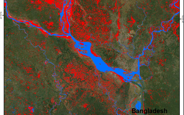 Representation of the permanent water bodies (blue) and the satellite detected waters (red) over part of Bangladesh in July 2020. UNOSAT Flood AI product