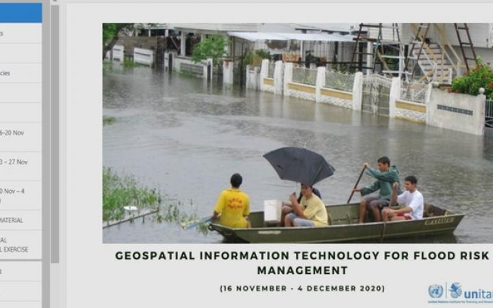 Screenshot of the e-learning course on Geospatial Information Technology for Flood Risk Management launched by UNOSAT on 16 November 2020
