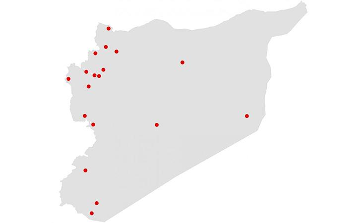 Syria map: the dots are the places described in the above document list