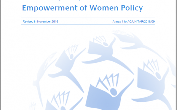 UNITAR Gender Mainstreaming, Gender Equality and the Empowerment of Women Policy