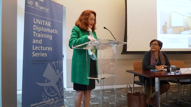 The Elected President of the 73rd Session of the General Assembly, H.E. Ms. Maria Fernanda Espinosa Garcés, giving her speech at the briefing session. Photo: UNITAR.
