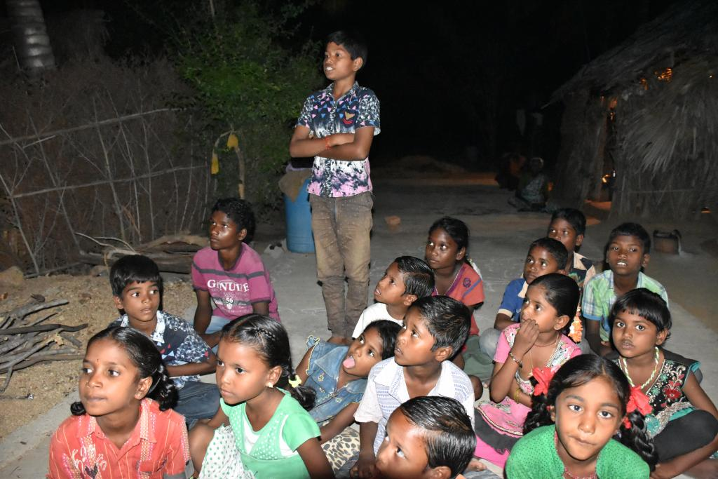 Children from the village of Irala Mandal during the workshop