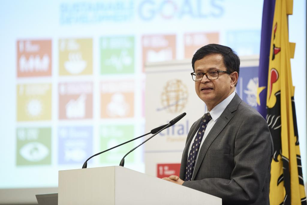 Mr. Nikhil Seth, Executive Director of UNITAR during the 15-year anniversary at the Flemish Parliament