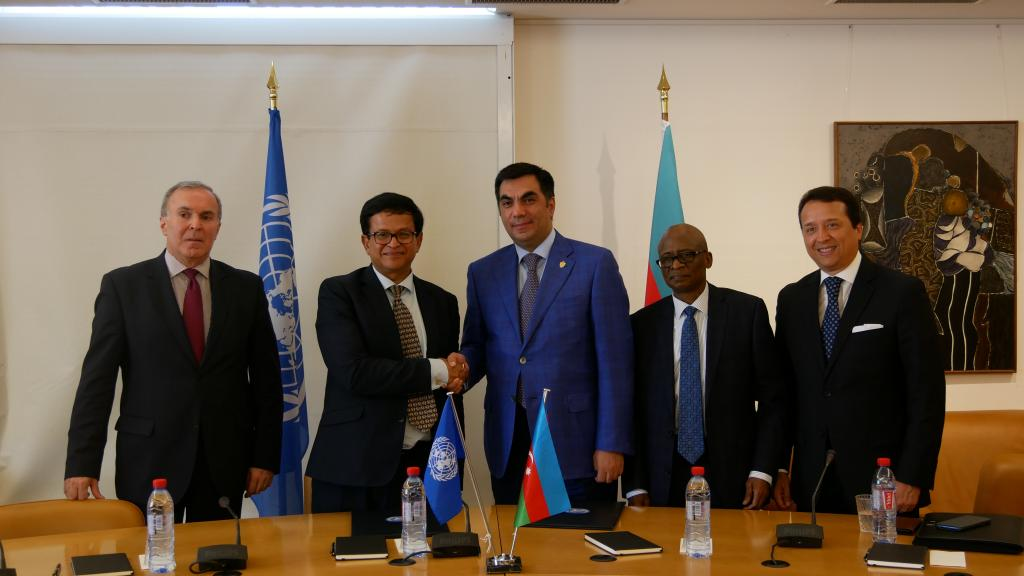 (from left) H.E. Mr. Vaqif Sadiqov, Permanent Representative of the Republic of Azerbaijan, Mr. Nikhil Seth, United Nations Assistant Secretary-General and Executive Director of UNITAR, • Mr. Elmar Gasimov, Rector, Baku Higher Oil School, • H.E. Mr. Audu Ayinla Kadiri, Permanent Representative of Nigeria to the United Nations Office and other international organizations in Geneva, • Mr. Alex Mejia, Director, Division for People and Social Inclusion, UNITAR