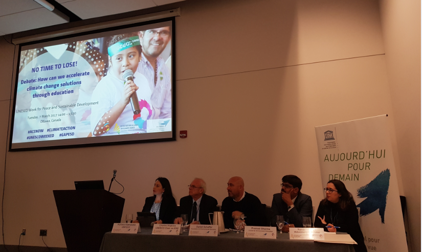 From left to right: Ms. Adriana Valenzuela, UNFCCC Secretariat; Mr. Charles Hopkins, UNESCO Chair on ESD, York University; Mr. Daniel Schaffer, Foundation for Environmental Education; Mr. Pramod Sharma, Centre for Environmental Education; Ms. Kenza Khallafi, Mohammed VI Foundation for the Protection of the Environment of Morocco.