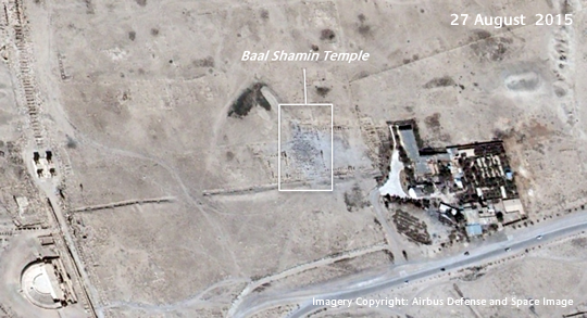 Satellite imagery of Baal Shamin Temple on 27 August 2015, Airbus D&S Pléiades Image