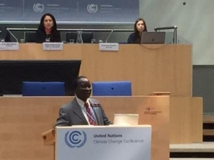 Mr Chebet Maikut, Climate Change Commissioner of Uganda and UN CC:Learn Ambassador addresses the Workshop on Action for Climate Empowerment at SBI48 in Bonn, May 1 2018.