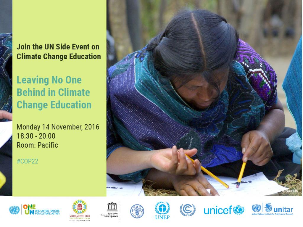 Social Media Card for UN Side Event on Leaving No One Behind in Climate Change Education