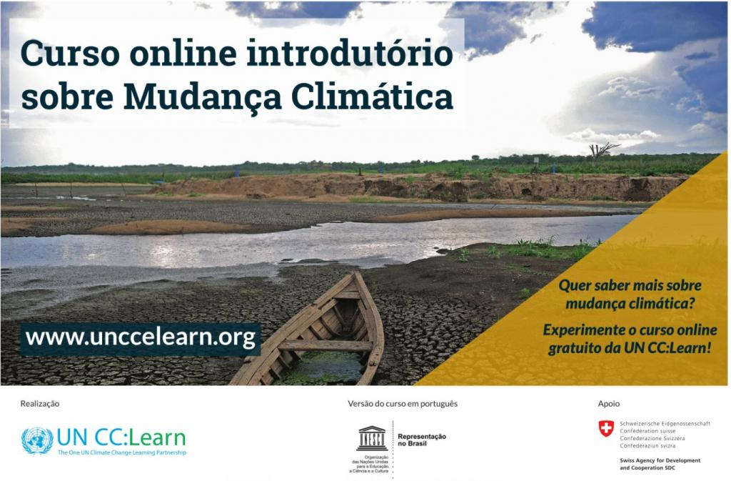 Introductory e-Course on Climate Change course flyer in Portuguese