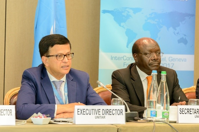 Mr. Nikhil Seth (left), Executive Director of UNITAR during his opening remarks