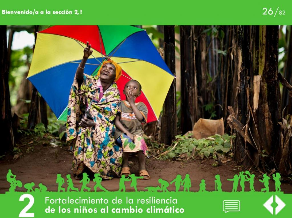 Module 2 of the Specialized e-Learning Module on Children and Climate Change in Spanish.