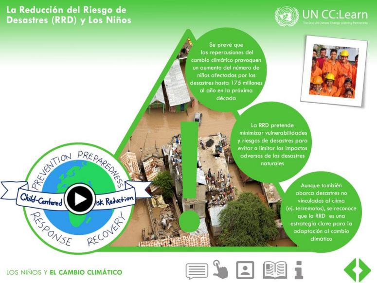 Module 2 slide 4 of the Specialized e-Learning Module on Children and Climate Change in Spanish.