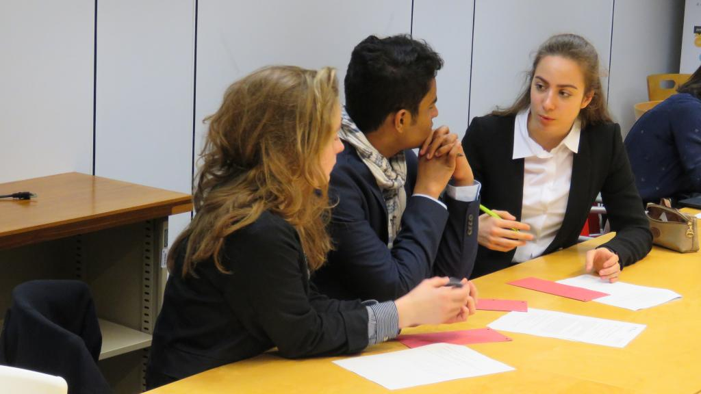 Students discuss their ideas on climate change