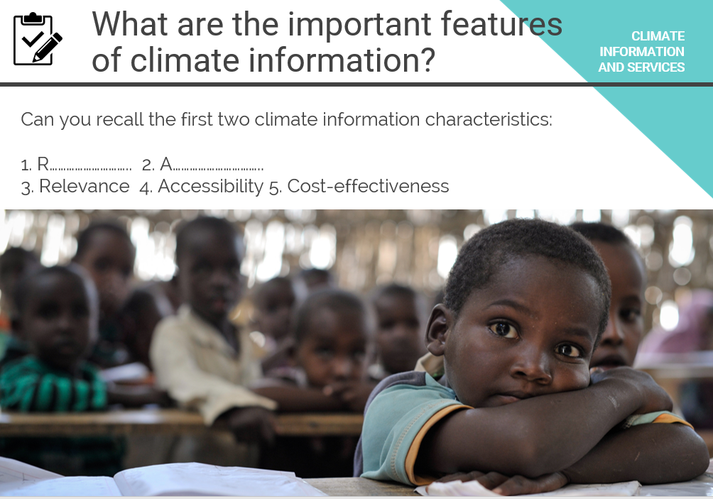 "UN CC:Learn e-tutorial on ""Climate Information and Services"" questions"