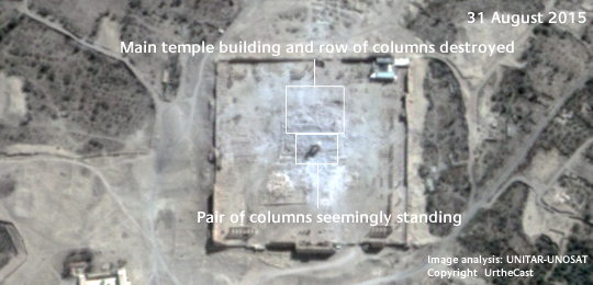Satellite imagery on 31 August 2015 (after destruction) Temple of Bel, Copyright  UrtheCast, Image analysis: UNITAR-UNOSAT