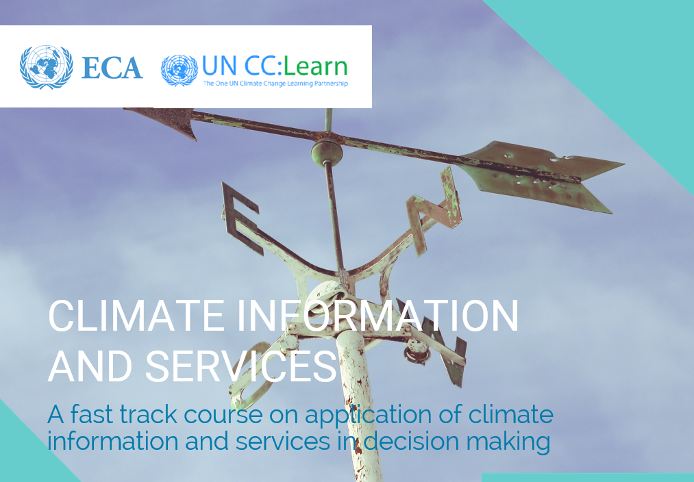 "UN CC:Learn e-tutorial on ""Climate Information and Services"" social media card"