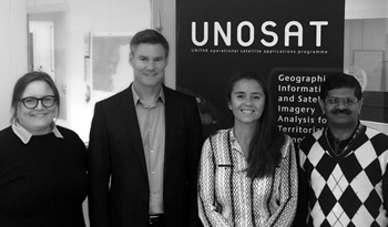 The three NORCAP experts with UNOSAT´s Manager. From left to right: Tanja, Einar, Beatrice and Hari.