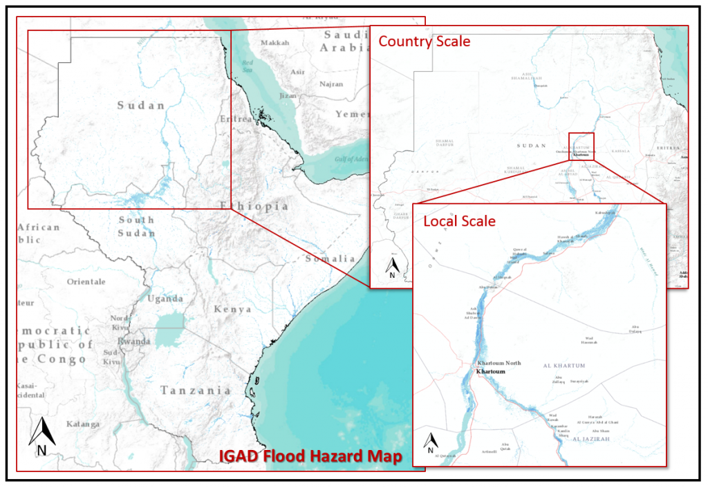 Flood Prone Areas In The Greater Horn Of Africa On The Map UNITAR - Horn of africa map