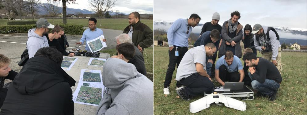 Students during the field data collection exercises with UNOSAT's expert Mr. Khaled Mashfiq explaining data collection procedures using the UN-ASIGN App and the UAV