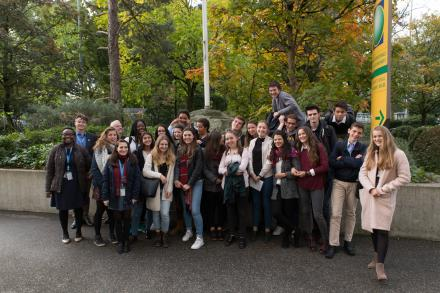 Group photo of UNITAR GCP, teachers and the students from the Lycee International de Ferney-Voltaire.